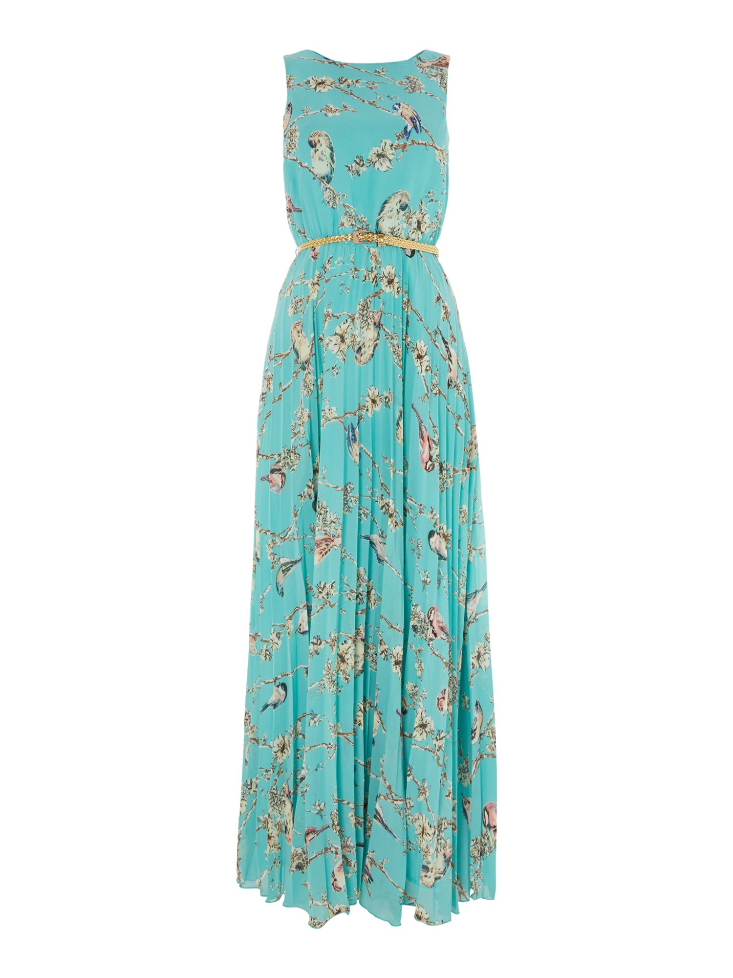 Print Maxi Dress with Belt