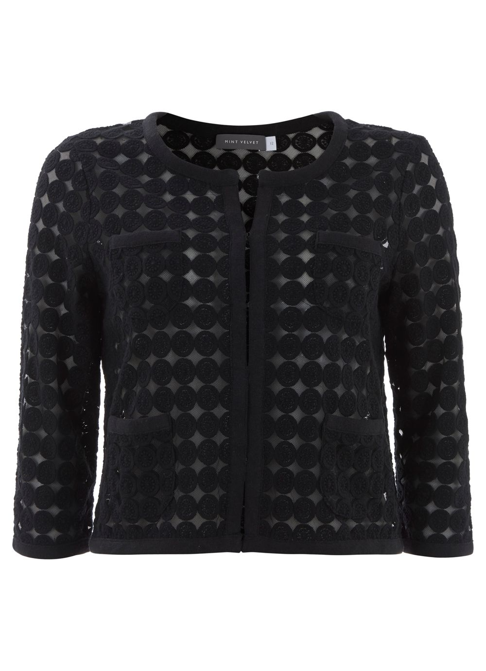 Black circle embroidered boxy cardigan