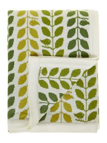 Leaf design knitted throw, greens