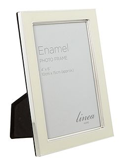Cream enamel photo frame, 4 x 6