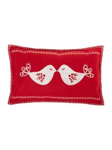 Christmas kissing birds embroidered cushion, red