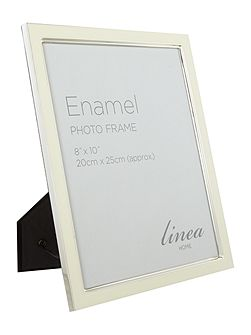 Cream enamel photo frame, 8 x 10