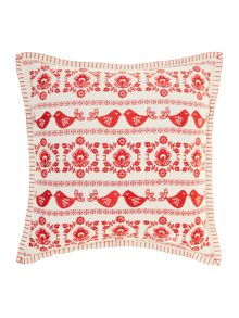 Christmas folk embroidered cushion, red