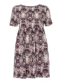 Cosmic printed smock dress