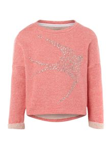 Girls studded swallow sweat top