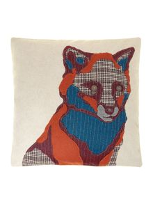 Fox embroidered cushion