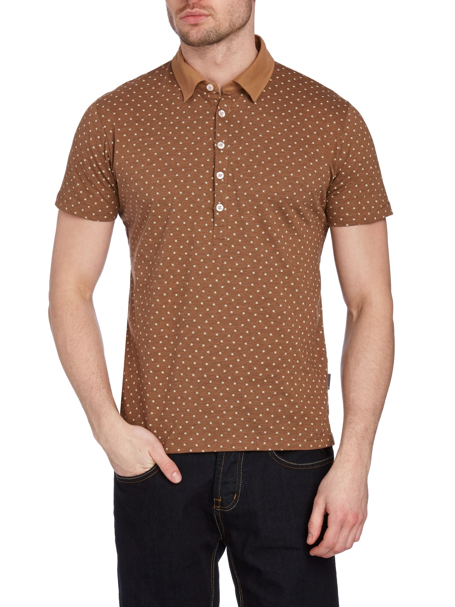Waring short sleeved floral polo shirt