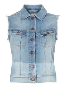 Sleeveless rider denim jacket in indigo blocked
