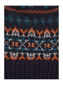 Orange fairisle beanie hat with pom pom