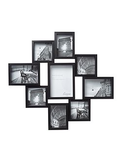 Linea Black 9 multi aperture photo frame