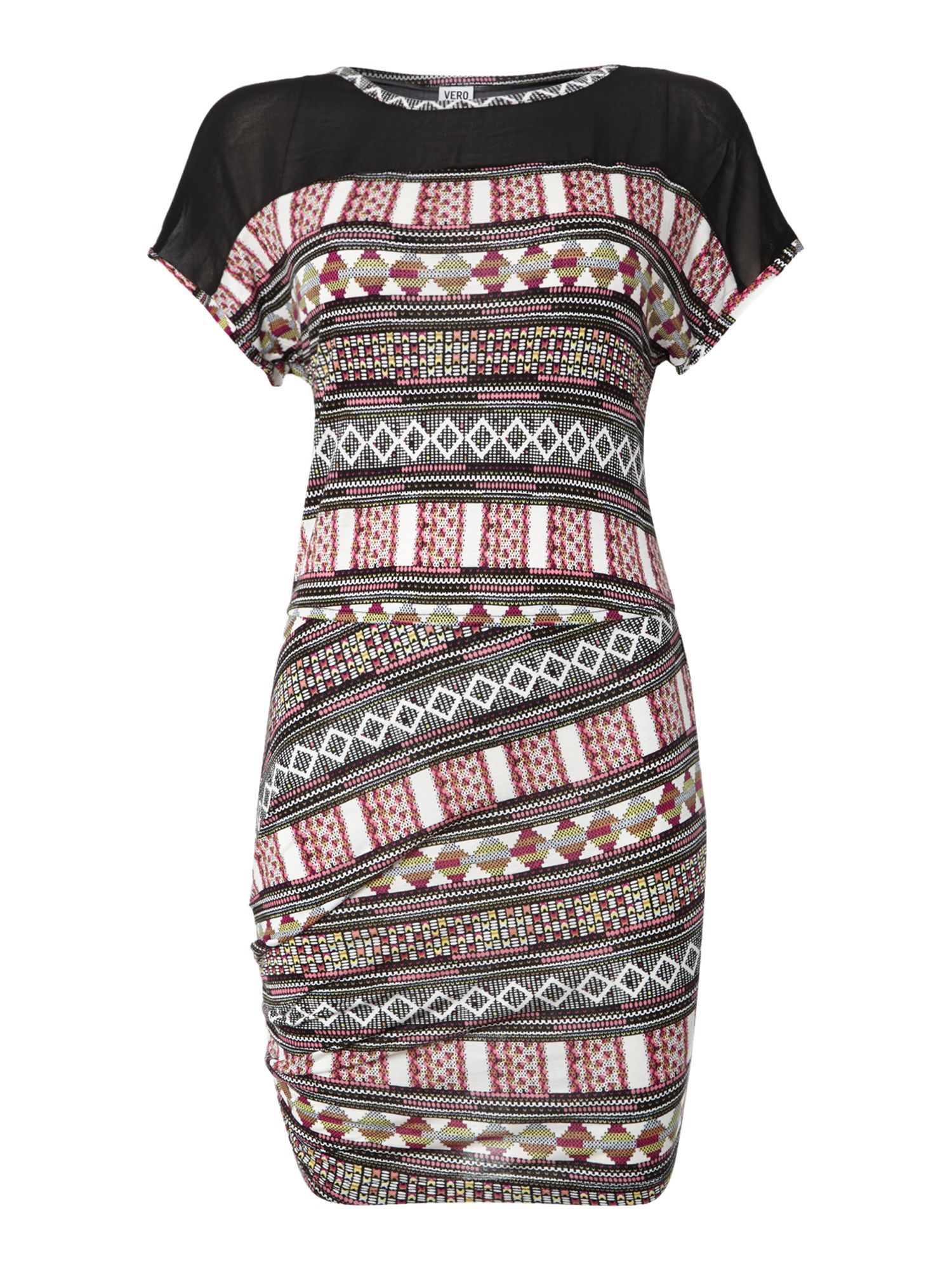 Short sleeve tribal print dress