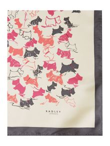 Doodle dog square silk scarf