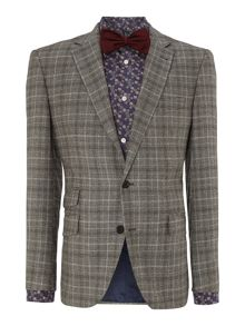 Newark check flannel notch lapel blazer