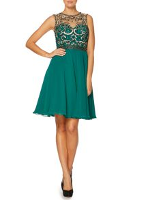 Fit and flare sleeveless sequin bodice dress
