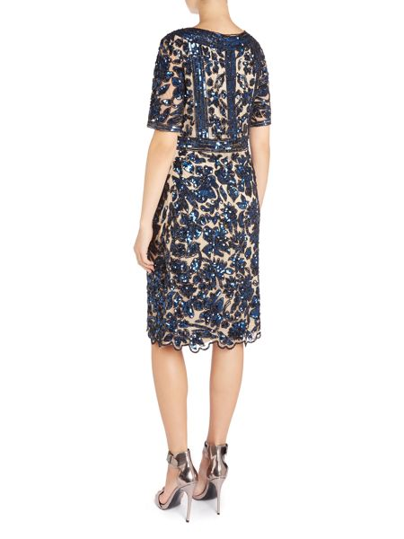 Dynasty Floral sequin shift dress
