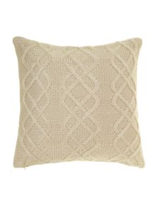 Chunky knit cushion with buttons, cream