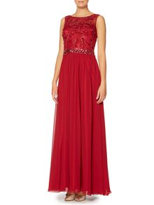 Dynasty Sleeveless sheer sequin bodice gown