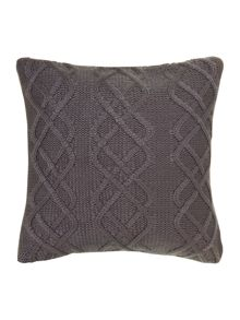 Chunky knit cushion with buttons, grey