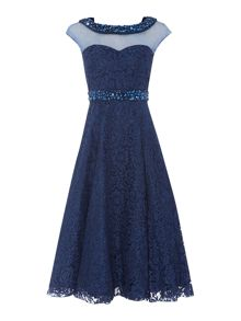 All over lace jewelled neck dress