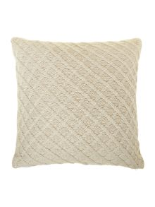 Diamond knit cushion, cream