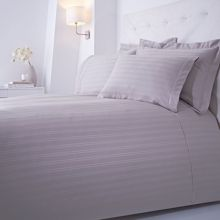 Luxury Hotel Collection Dobby stripe double duvet set grey