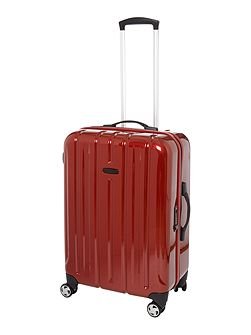 Movelite red 4 wheel hard medium case