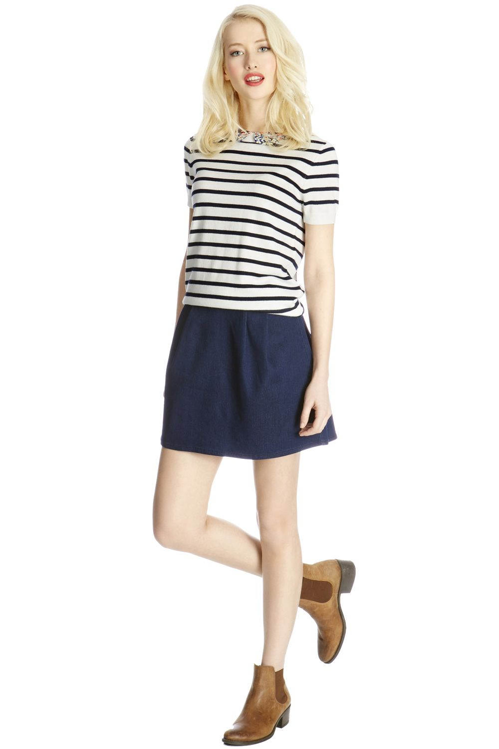 Ditsy collar stripe jumper