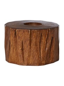 Wooden tree trunk candle holder, small