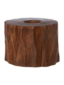 Wooden tree trunk candle holder, medium