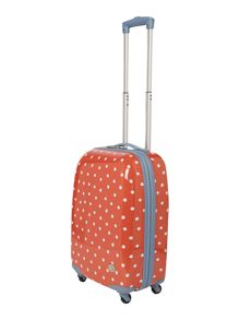 Polka dot red 4 wheel cabin suitcase