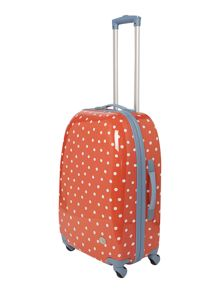Polka dot red 4 wheel medium case