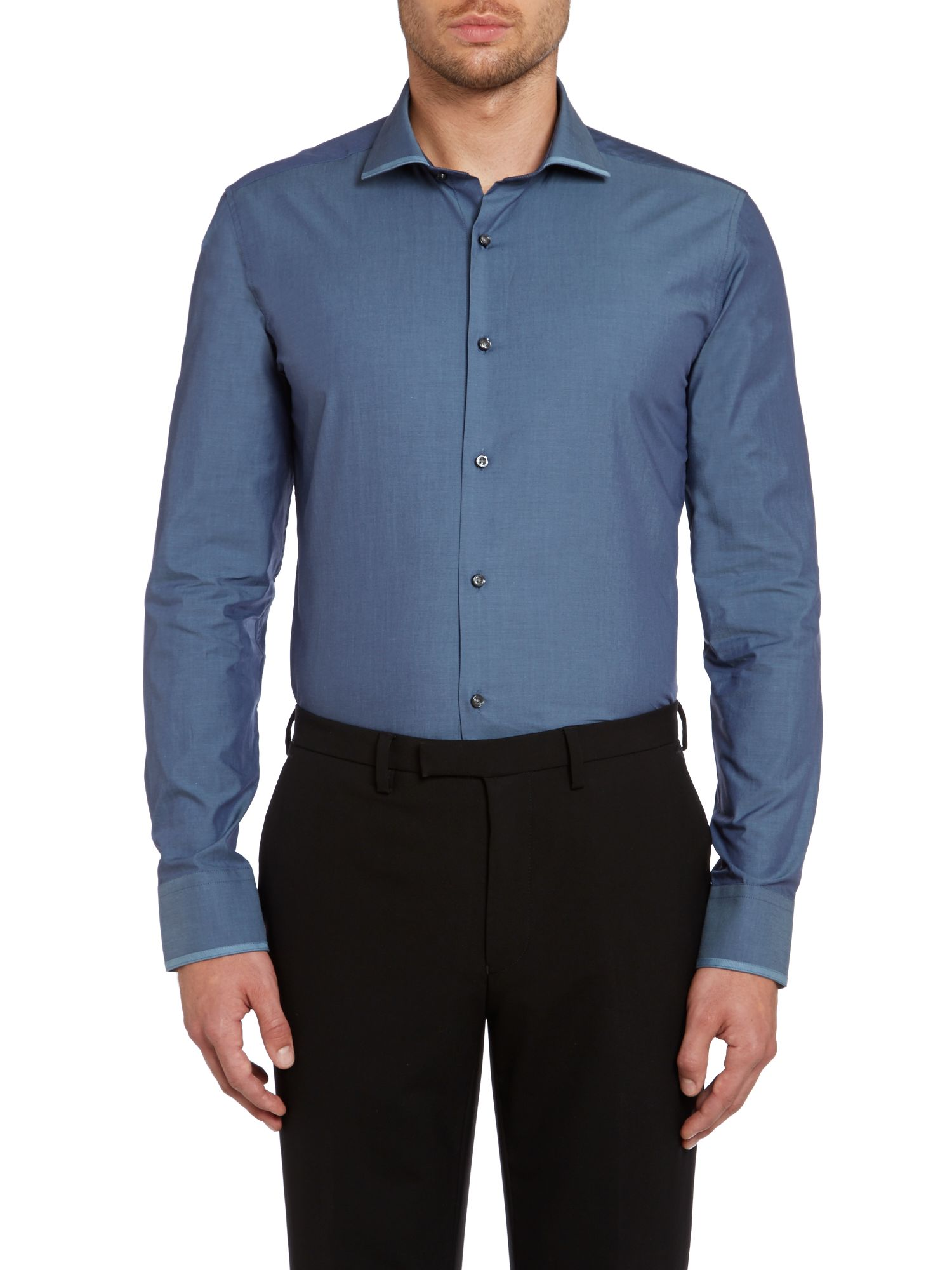 Cantley slim twill satin collar shirt