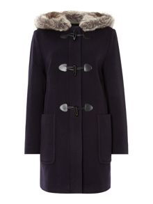 Faux Fur Trim Duffle Coat