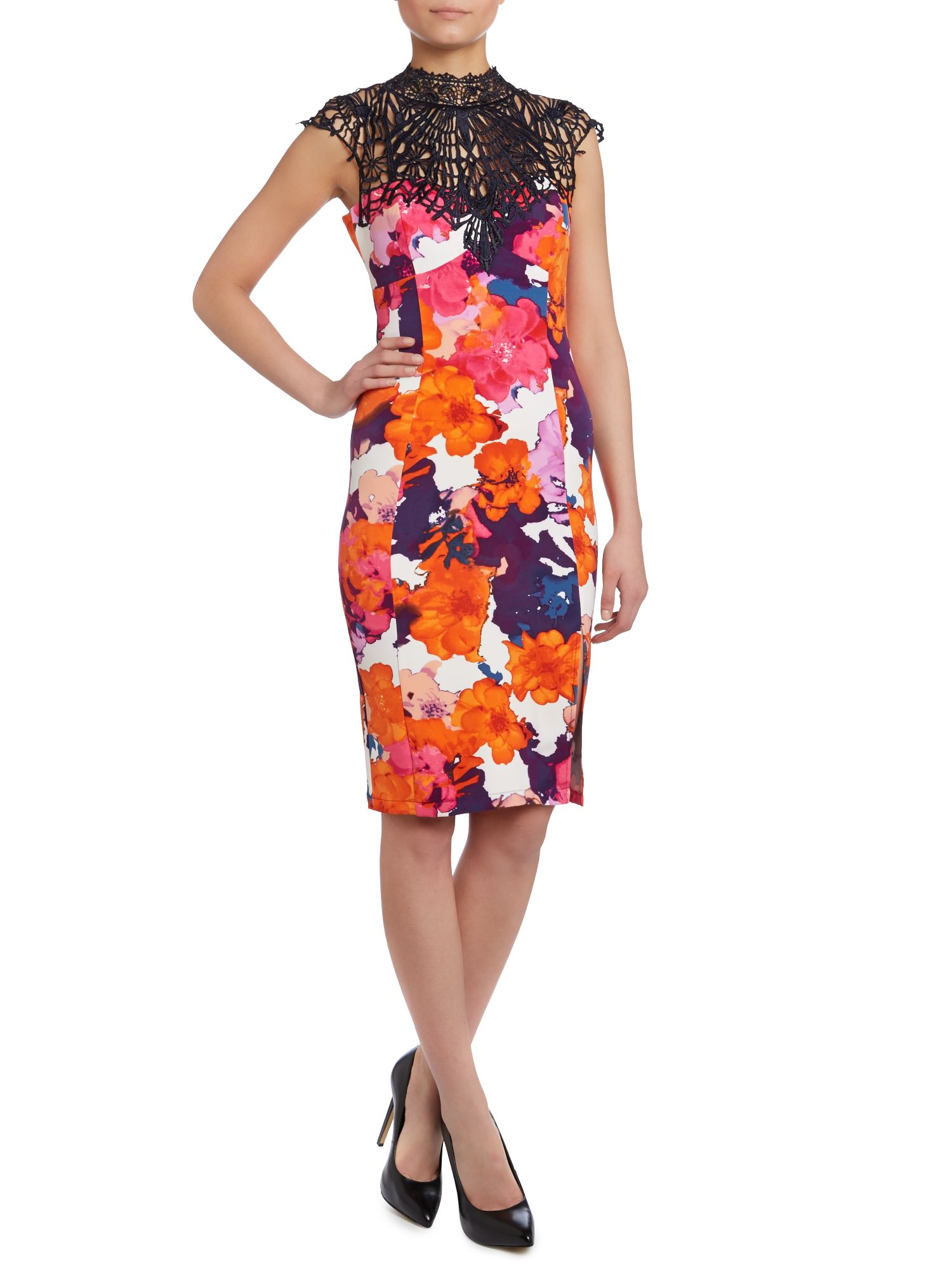 Kardashian Kollection floral halter neck dress