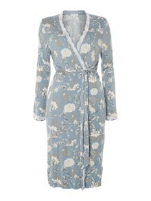 Porcelain floral printed jersey robe