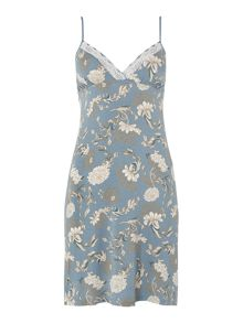 Porcelain floral printed jersey chemise