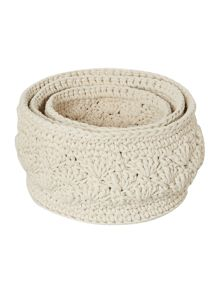 Shabby Chic Crochet Storage Bags (Set of 3)