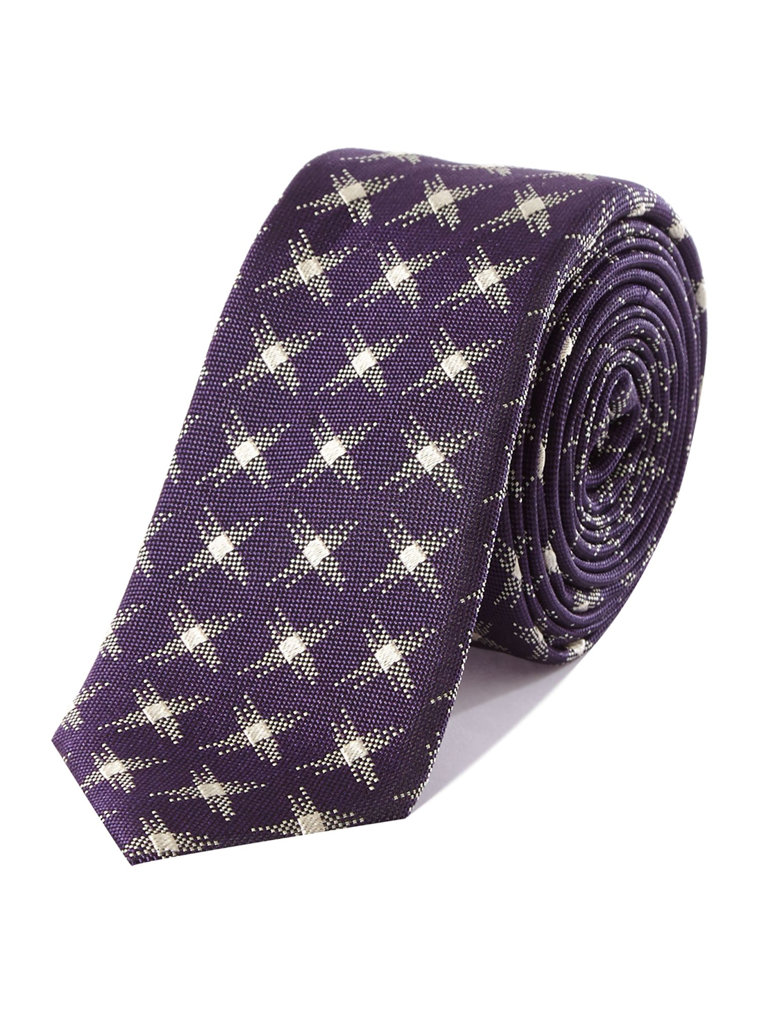 Cross stitch effect slim tie