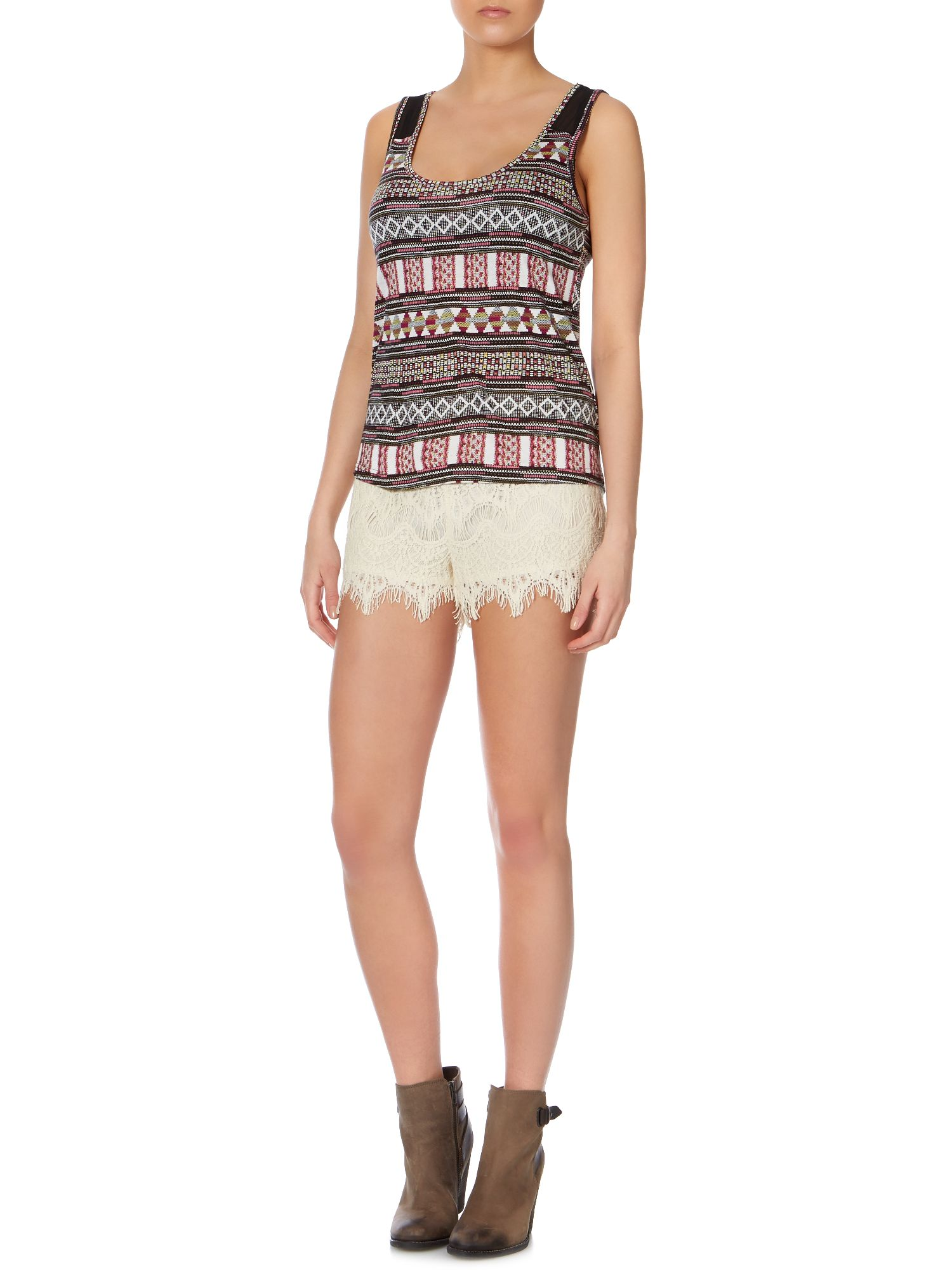 Sleeveless tribal print top