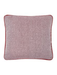 Herringbone cushion, red