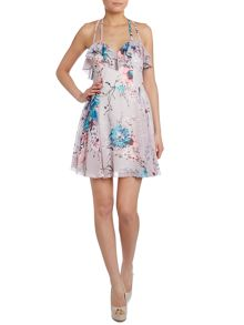 Oriental print chiffon mini dress