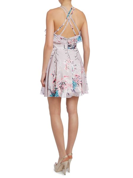 Lipsy Oriental print chiffon mini dress