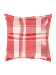 Wool check cushion, Red