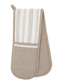 Ticking Stripe double oven glove