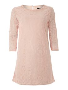 Long sleeved lace shift dress