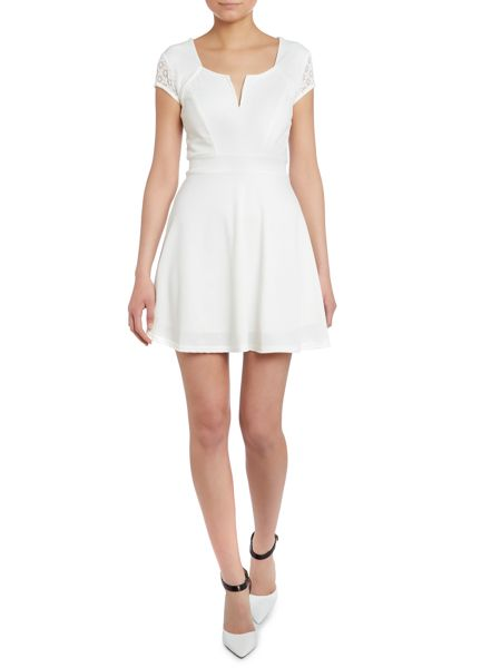 tfnc V neck capped sleeved fit and flare dress