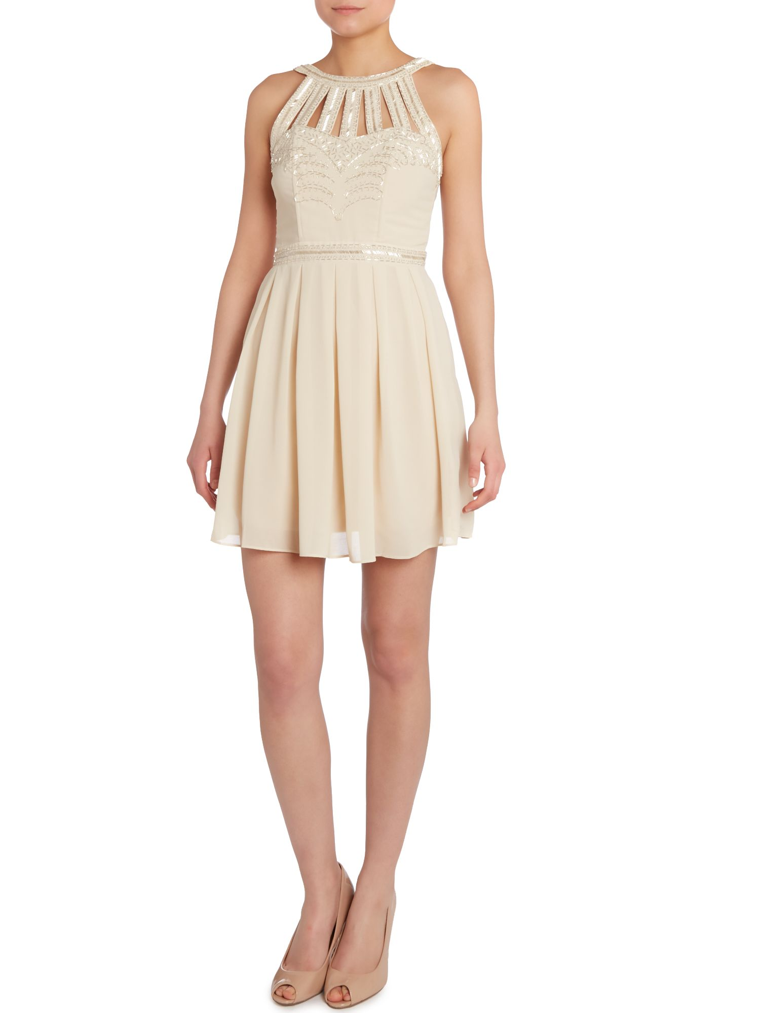 Cage embellished neck fot and flare dress