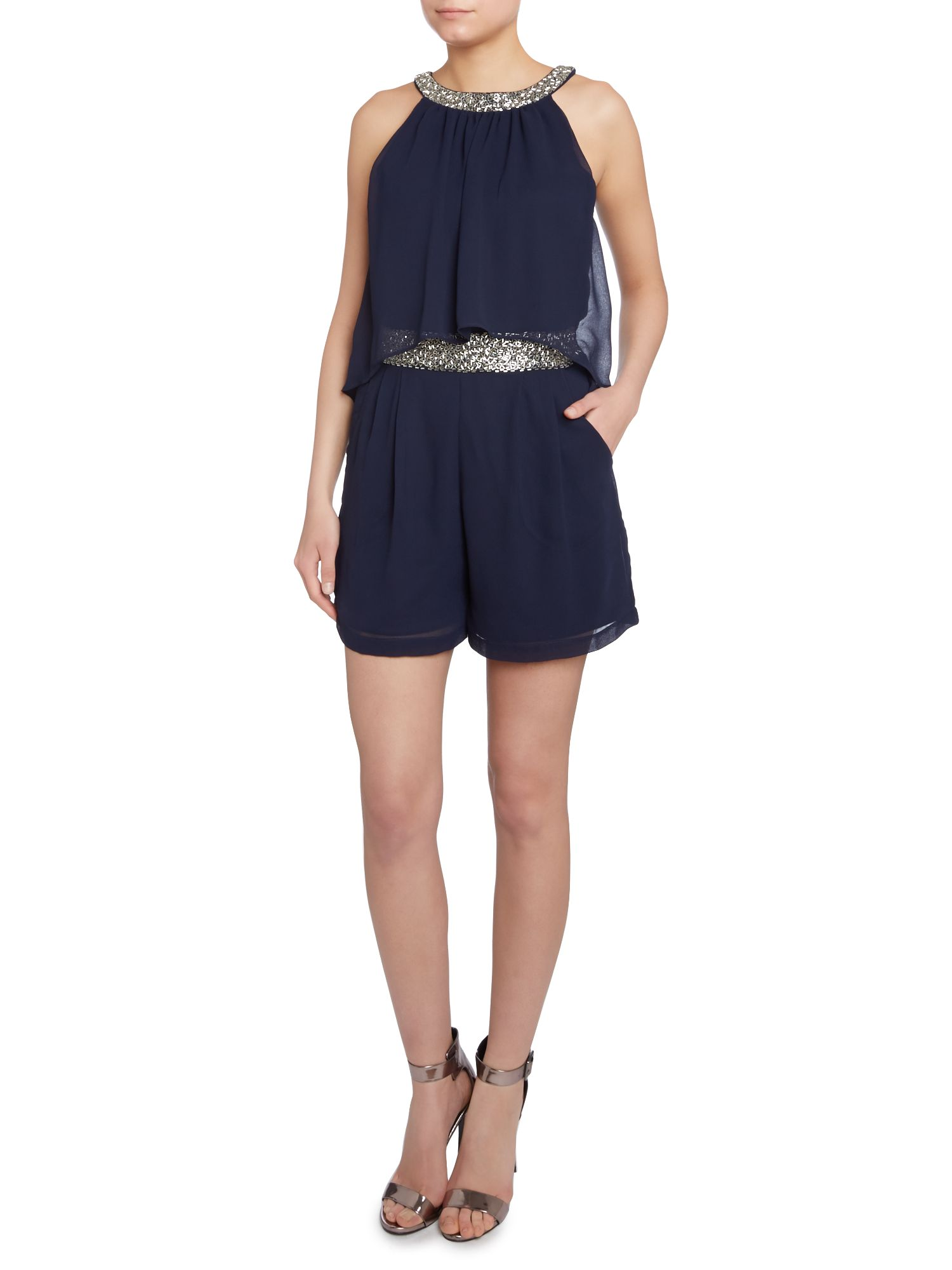 Chiffon layers embellished neck playsuit