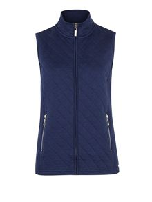 Navy Quilted Interlock Gilet