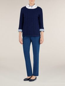 Long Sleeve Scoop Neck Cable Jumper